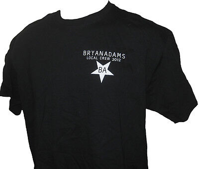 Bryan Adams 2012 Canadian Concert Local Crew T-shirt Black With White Star XL