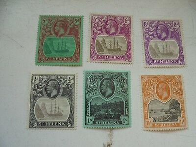 St Helena 6 stamps KGV 1/2dto 1/- all MM large format