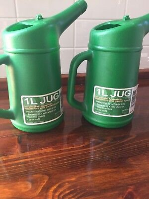 2 x 1L Measuring Jug Plastic Oil Can Home Garage Automotive Use Green