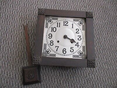 Wall Clock Solid Wood Casing With Pendulum 28 X 28.25 X 9.5 Cms Vintage