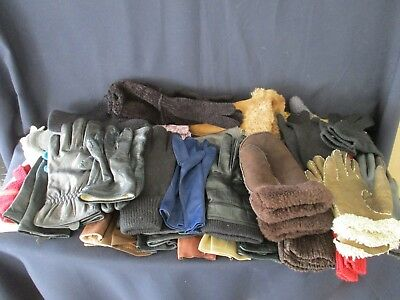 Job Lot Ladies Gloves / Mittens - 31 pairs - Leather / Knitted / Fabric