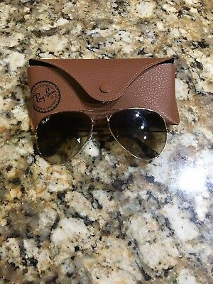 Authentic Womens Gold & Brown Gradient Ray-Ban Aviator 3025 112/85 58 Sunglasses