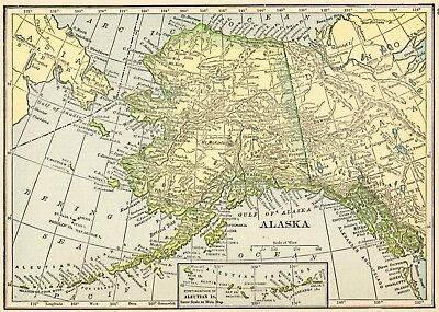 1910 Antique ALASKA State Map Vintage Map of Alaska Gallery Wall Art  smap 5894