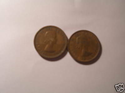 Canada 1953 Small Cent Penny 2 Varieties Set Shoulder And Non Shoulder Fold.