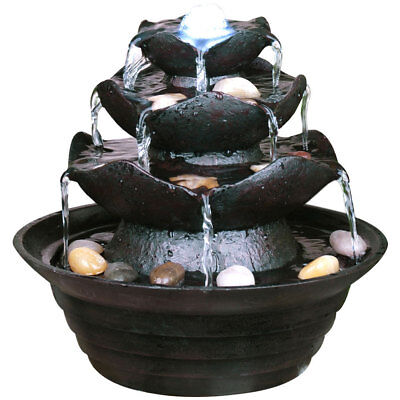 Indoor Fountain - 4 Tier Cascade Waterfall with Light and Pebbles AP02447AA