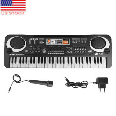 Portable Digital Piano Music Keyboard Electronic Instrument with Mic 61 Key US