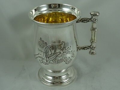 QUALITY `DOVE OF PEACE`, solid silver TANKARD, c1960, 359gm