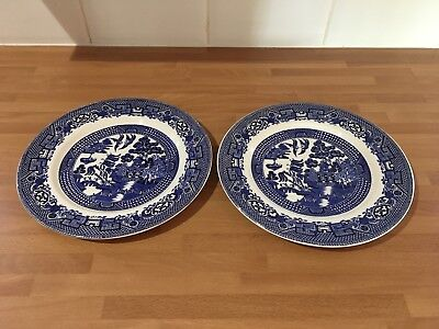 swinnertons staffordshire old willow blue & white 9ins salad plates x two