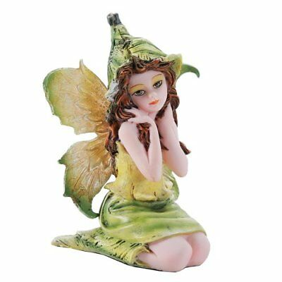 "Miniature Yellow Green Garden Fairy Figurine Statue 3"" H Small Faery Collection"
