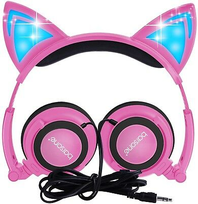 LED Cat Ear Headphones Flashing Glowing Cosplay Fancy Foldable Over-Ear Headsets
