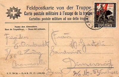 """Military used postcard from the front """"FUSILIER BATTALION 28"""" to BINCHSEE"""