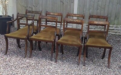 Dining Chairs Reproduction X 8 Mahogany Withinlay Solid Frames .