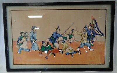 Antique Victorian Early Vintage Chinese/Japanese Oriental 1820s Painting (894S1)