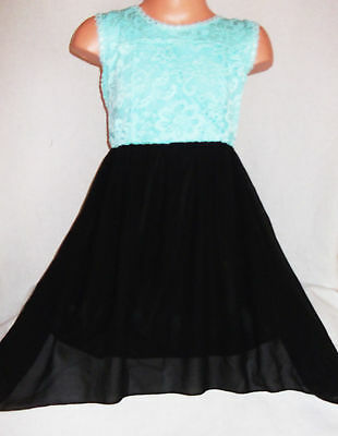 GIRLS MINT LACE BLACK CHIFFON CONTRAST BOW TRIM DIP HEM PROM PARTY DRESS age 3-4