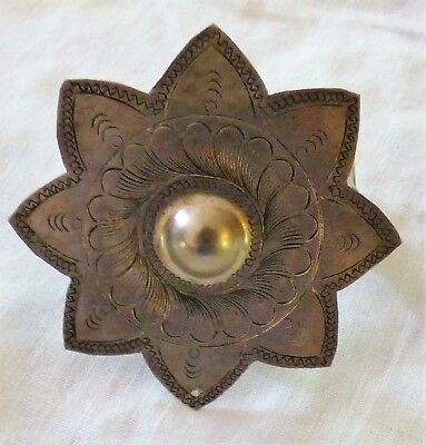 Hand Tooled Tin Pony Tail Holder Barrette Star Shape Western Concho