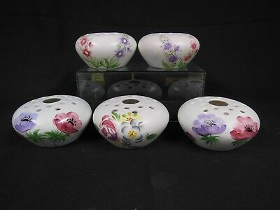 5 x Radford Hand Painted Rose Posy or Potpouri Vases (4 different designs)