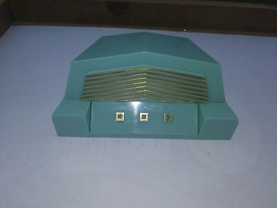NICE Vintage Dennison U.S.A. Art Deco Blue Celluloid Gold Trim Ring Jewelry Box