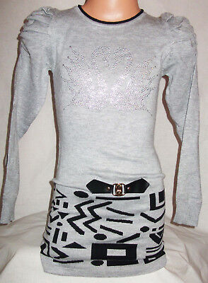 Girls Grey Sparkly Diamonte Swans Logo Black Tribal Print Soft Knit Jumper Dress