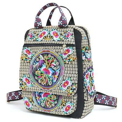Vintage Embroidered Ethnic Traveling Backpack for Women 15.6 inch slim laptop...