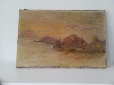 Antique Signed Dated 1925 Oil Painting On Canvas Seascape Moonlight Vintage