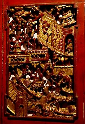 MUSEAL ALTES CHINA Holzrelief GOLD um 18 Jhd.;VIELE SZENEN