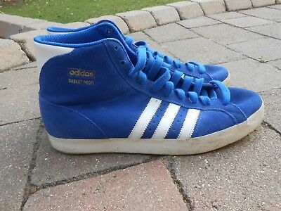 Mens Adidas blue suede trainers.