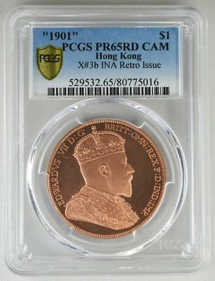 Edward VII Hong Kong  $1 1901  PCGS  PR65RD CAM  copper