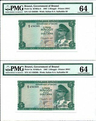 Government of Brunei Brunei  5 Ringgit 1967  PMG  64 2 Pcs in cont. no