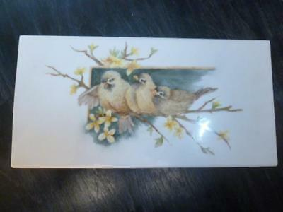 Vintage 1987 Hand Painted Artist Original Birds on Branch Porcelain Tile Plaque