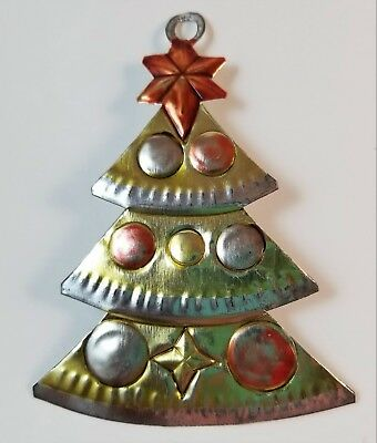 Vintage Punched Tin Christmas Ornament Tree Mexican Folk Art Painted A3