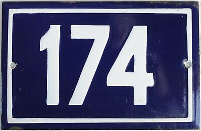 Old blue French house number 174 door gate plate plaque enamel steel metal sign