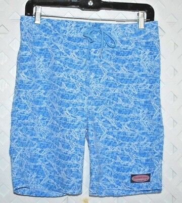 VINEYARD VINES Board Shorts / Swimsuit Swim Trunks Blue Fish Design Youth L / 16