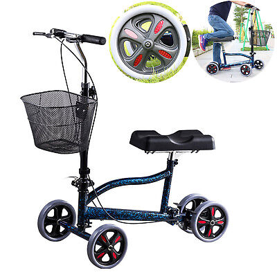 Mobility Knee Walker Scooter Steerable Foldable Medical Aid Crutches 4-Wheel