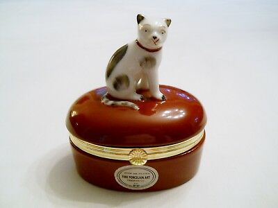1985 Porcelain Trinket Box w/ CAT - FITZ AND FLOYD - White & Gray Kitty Cat
