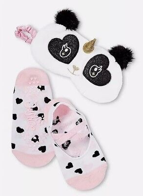 Justice Girl's PANDACORN Eye Mask & Slipper Socks Set New with Tags