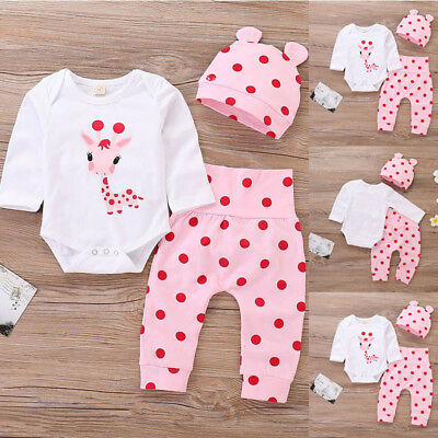 Baby Girls Cute Giraffe Bodysuit + Dot Trousers Pants Set Holiday Casual Outfits