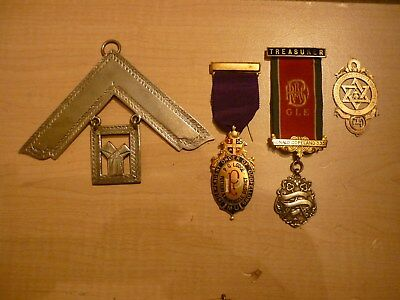 4 Masonic Jewels Medals Lodge including 1 Very Large Past Master and 2 Silver