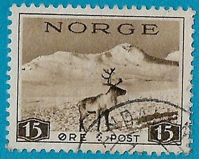 + 1939 Norway Scandinavian Reindeer Mountain Nature Scene #184 A25 15o used