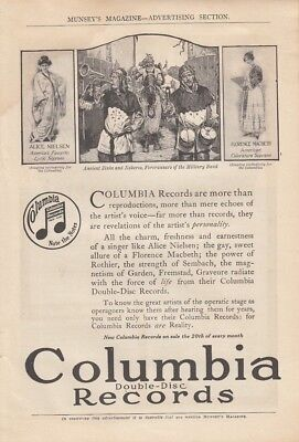 1916 Columbia Double Disc Records Ad: Alice Nielsen and Florence MacBeth