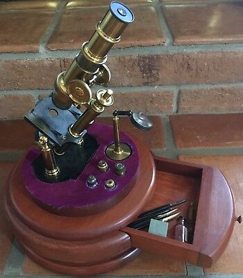 1875 French Double-Pillar Microscope on Stand with Drawer