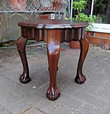 Antique Repro Round Wine Table~Side~Lamp Or Coffee Table~Ball & Claw Supports
