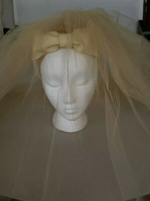 Vintage Wedding Bridal Veil Ivory  Clip-in Head piece w/ Bow Pearls