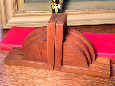 Vintage Art Deco Solid Oak Bookends Curved Cloud Design Dovetailed 1930's Chic