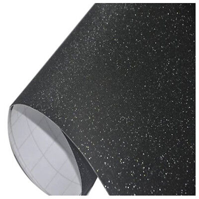 Premium Matte Glitter Vinyl Wrap Sticker Decal Sheet Film black 152X10CM E5C7 ZL