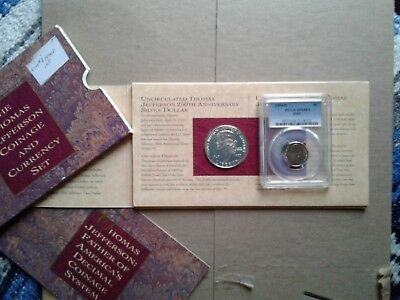 Thomas Jefferson Coinage & Currency Set-Silver Dollar, nickel, and $2 Bill