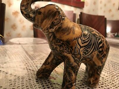 LA VIE Glazed Safari Patchwork Elephant With Raised Trunk