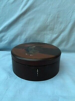 Antique Japanese Black & Brown Circular Lacquered Box With Hand Painted Geisha