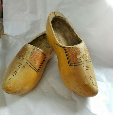"""OLD Hand carved painted wood 12"""" Large WOODEN SHOES clogs Dutch Holland - USED!"""