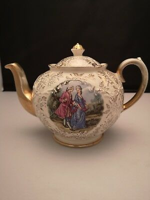 Sadler Teapot With Picture And Gold Detail