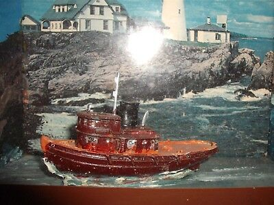 Antique Nautical Maritime Ship model cased diorama Tug Boat